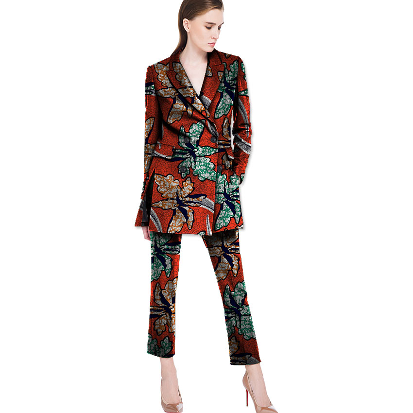 abb70062dfc US $78.99 |Women African Clothing Print Suit+Pants 2Pieces Set Festive  Ladies Straight With Long Sleeve Suit Customized Jacket Clothing-in Pant  Suits ...