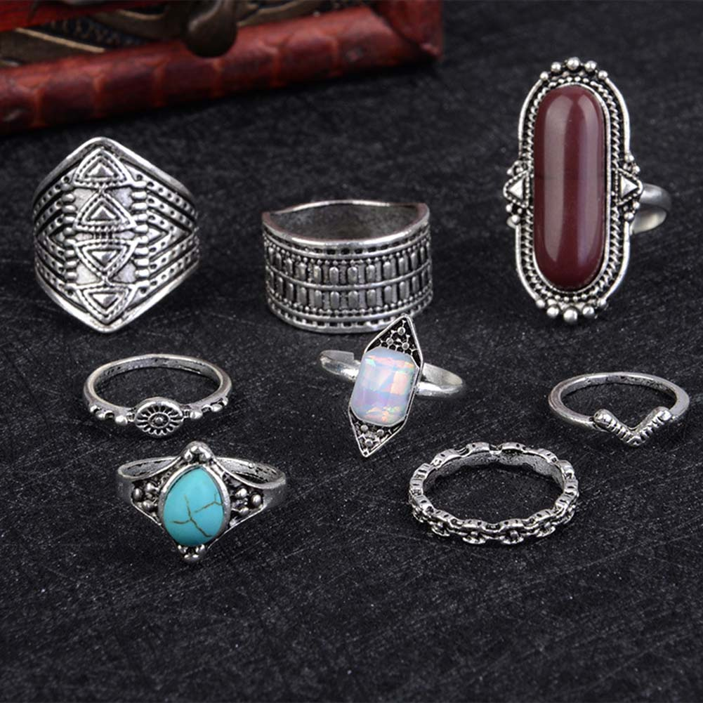 2018 Boho Jewelry Blue Brown Color Stone Ring Sets For Women Vintage Silver Gold Color Rings Gift 8 Pcs/Set