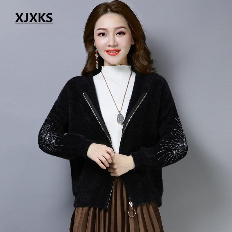 XJXKS chamarras de mujer 2018 automne femmes mode manteaux à capuche confortable fermeture éclair ulzzang femmes harajuku veste
