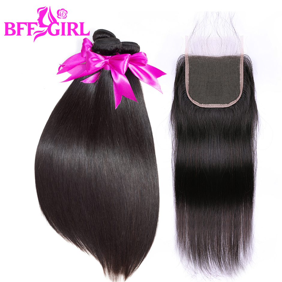 BFF GIRL Indian Straight Hair Bundles With Closure Human Hair 3 or 4 Bundles With Closure Non Remy Hair Extensions With Closure