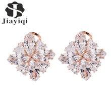 Women Charm Cubic zirconia Cubic zirconia Sakura Stud Earrings Fashion Luxury Golden Earrings Wedding Party Fine Jewelry