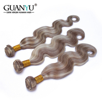 Guanyuhair Peruvian Remy Hair Piano Color P8/613 3 Bundles Body Wave Ombre Blonde Human Hair Weave Ash Brown Hair With Highlight