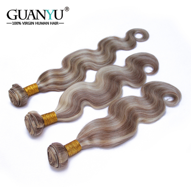 Guanyuhair peruano Remy pelo Color Piano P8/613 3 mechones cuerpo ondulado Rubio degradado cabello humano ondulado Ash Brown cabello con punto destacado