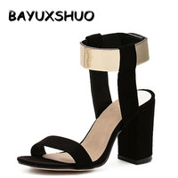 Newest Summer Crude Heel Sandals Women Fashion Shoes Metal Quality Nubuck Leather High Heels Sandals Shoes