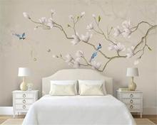 beibehang Custom silky papel de parede wallpaper fresh modern minimalist new Chinese hand painted magnolia bird TV background