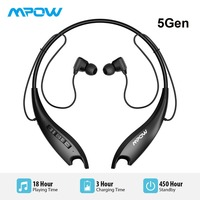 Mpow Jaws 5Gen Bluetooth 5.0 Headphones With Mic Crystal Clear 18H Ultra Long Battery Life HiFi Stereo Sport Headphones Neckband