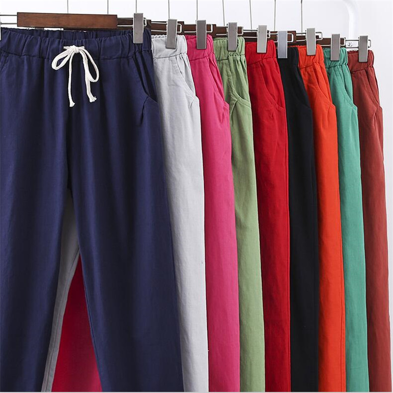 Plus Size M-7XL Spring Summer Pencil Pants 10 Color Women Cotton Linen Pants Thin Casual Solid Drawstring Trousers With Pockets