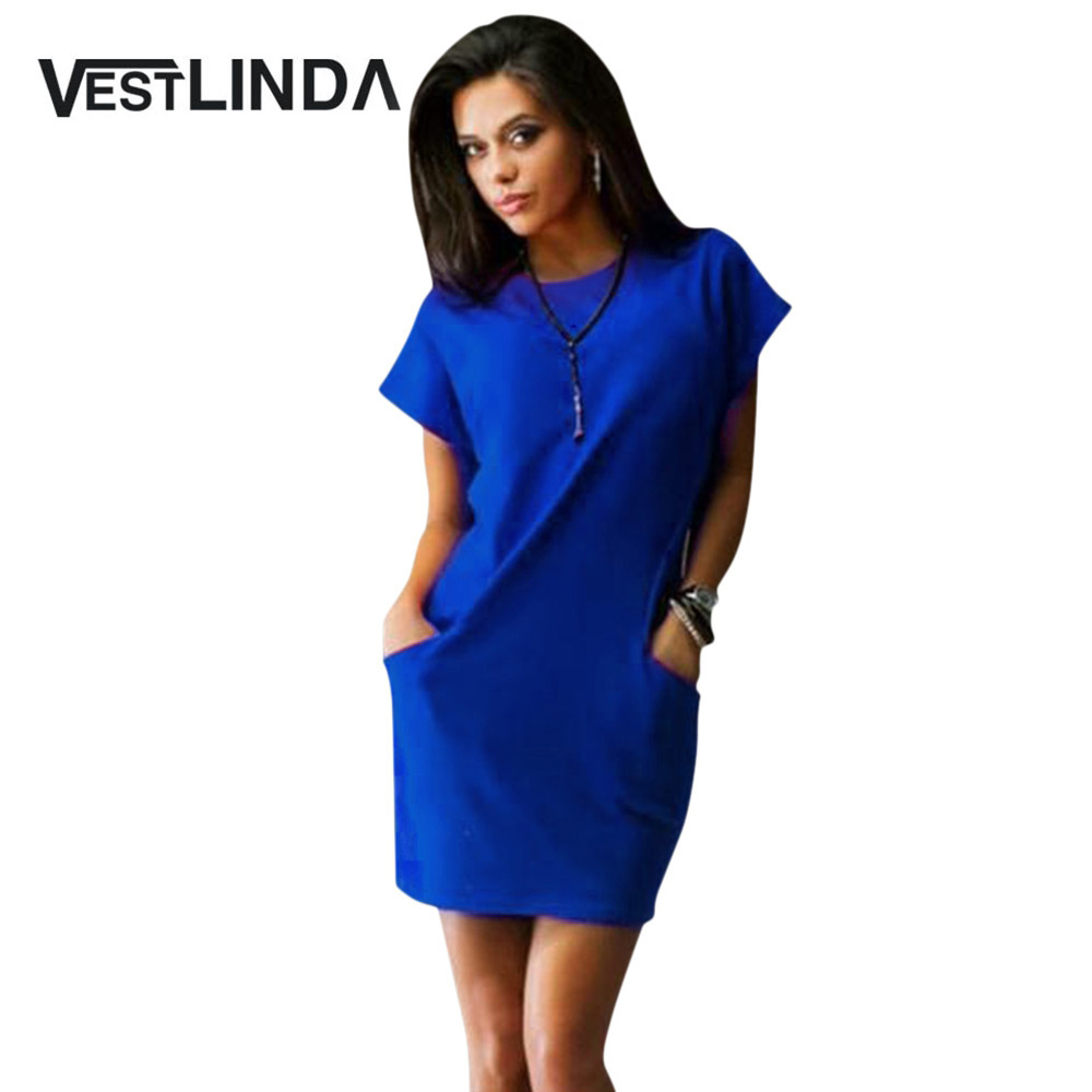 VESTLINDA Bodycon Dress Women Sundress Brief Solid Color Slim Sexy Dress O Neck Short Sleeve Mini Shirt Dress Summer Vestidos 1
