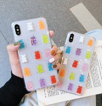 3D Gummy Bear Candy Color Soft Cases for huawei P30 P20 nova3i 2s mate20 pro p30p Glitter TPU Cover iphone xs max x xr 7 8 6