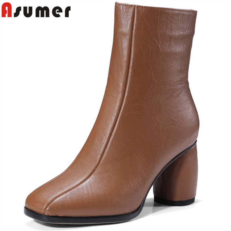ASUMER 2018 fashion women boots square toe genuine leather boots thick high heels ankle boots zip ladies autumn winter boots asumer black fashion autumn winter boots women pointed toe zip genuine leather boots thick high heels ankle boots big size 33 43