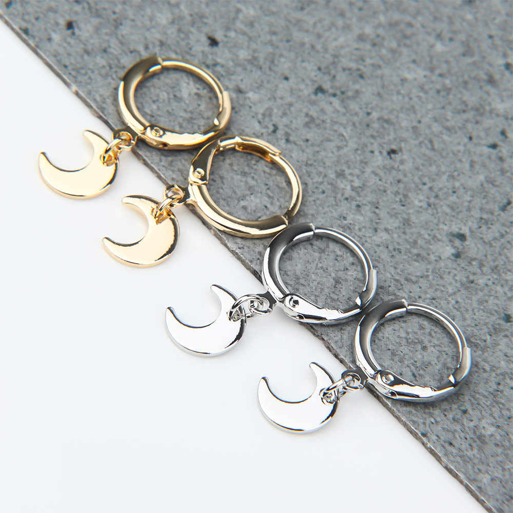 Trendy sliver Gold Color Small Star moon Hoop Earrings for Women 2019 Ear Piercing Huggie Earrings Simple Charms Jewelry