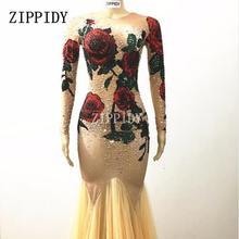 777432d57679d Moda Renkli Taşlar Gül Çiçekler uzun elbise Sahne Giyim Çıplak Streç Elbise  Kadın Şarkıcı Kırmızı Yeşil Rhinestones Kıyafet