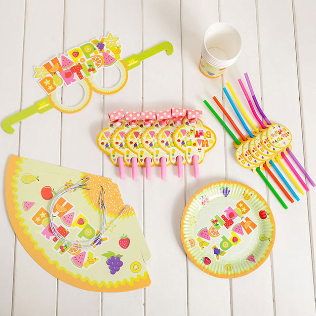 36pcs/set Cartoon Fruit Party Disposable Cups Plates Hats Straw Happy Birthday Party Decorations Kids Boy Green for 6 Person