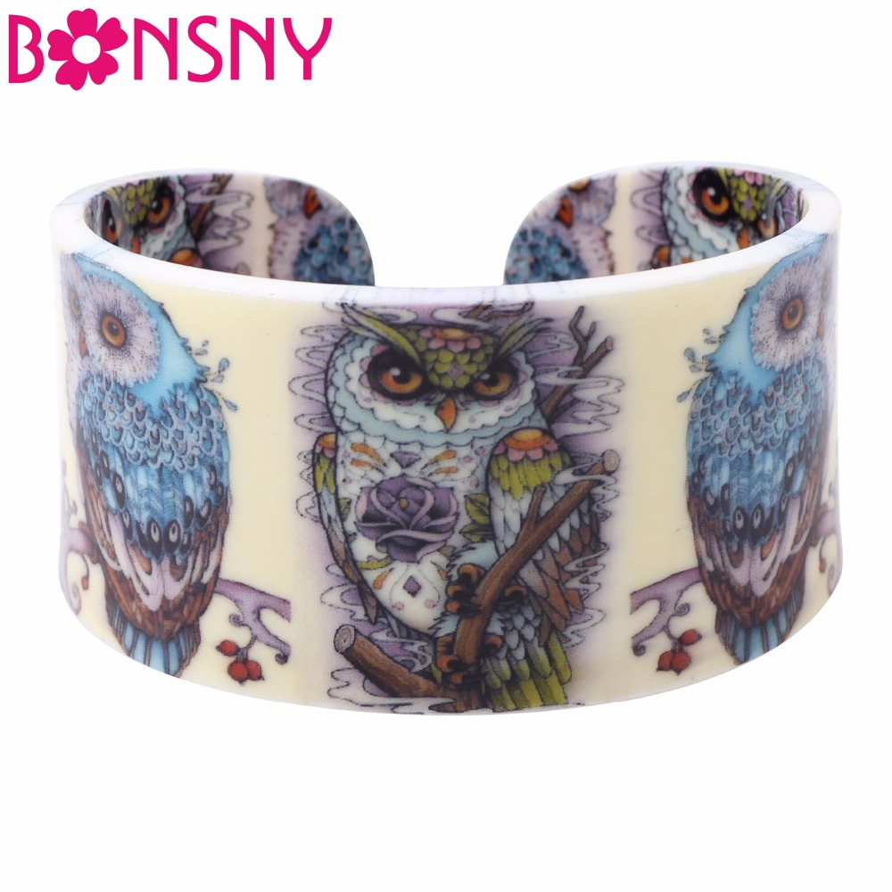 Bonsny Acrylic Wide Love Owl Bangles Bracelet Jewelry For Women 2017 New Animal Jewelry Spring Summer Accessories Gifts Bijoux