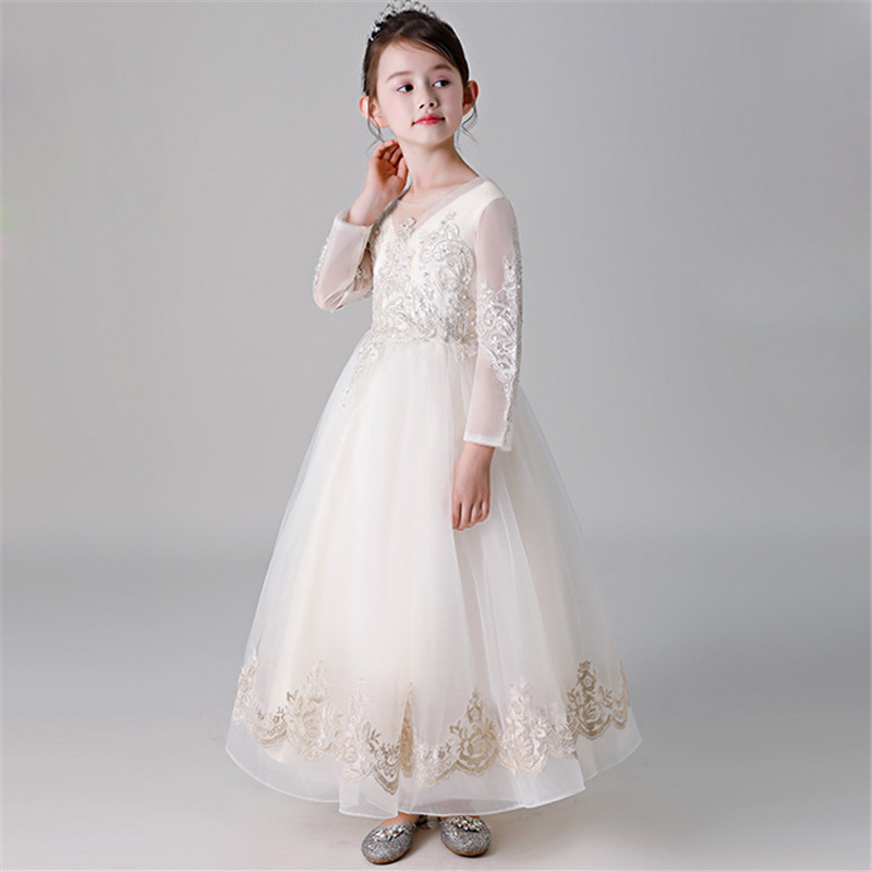 3-15Years Children Stage Costumes Flowers Long Sleeves Elegant Princess Dress Girls Teens Birthday Wedding Party Costume Dress