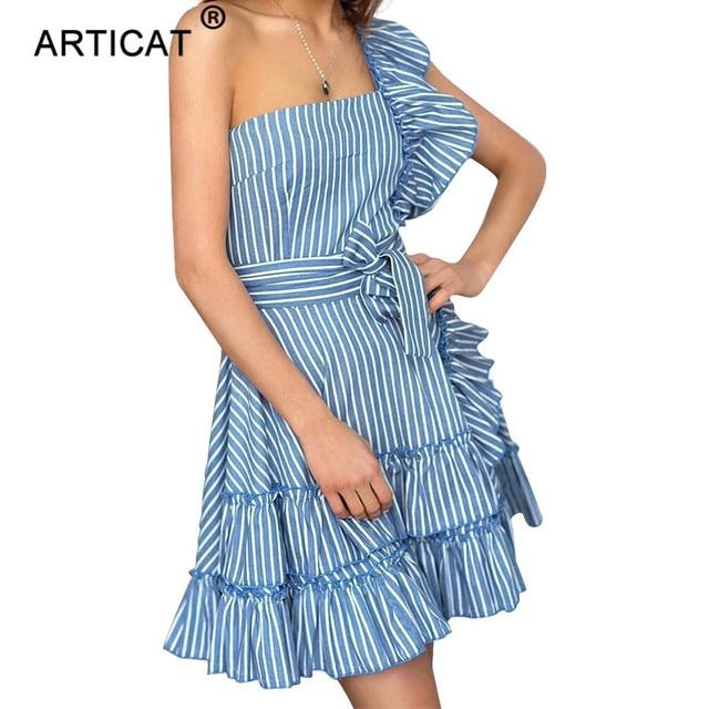 e17d4facdf6c Articat 2018 Blue Striped One Shoulder Summer Dress Ruffles Sleeveless  Strapless Loose Beach Dress Casual Waistband Party Dress