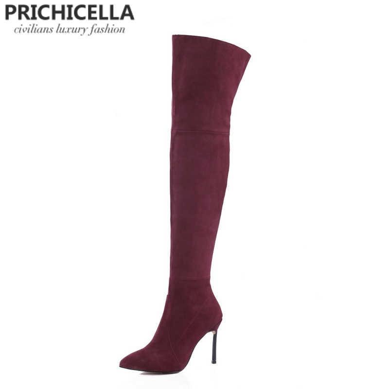 PRICHICELLA 8 см 10 см серый натуральная кожа сапоги выше колена высокие ботинки size34-42