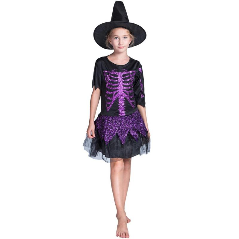 Cute Kids Girls Glitter Skull Witch Cosplay Costume Dress Cap Hat Sweet Outfit Set Halloween Party Festival Clothes Decoration