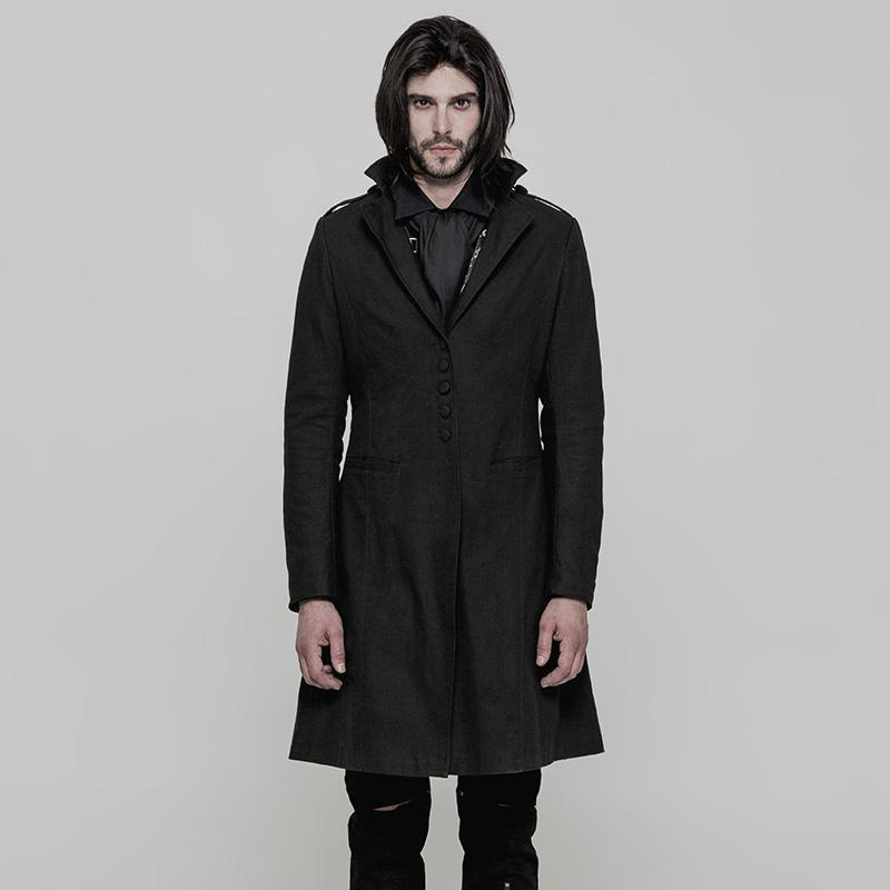 Punk Rave Men's Gothic Single Breasted Turn down Collar Coat Y 881