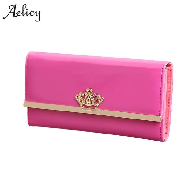 Aelicy nueva moda de alta capacidad de las mujeres carteras de metal crown lady long clutch cartera femenina de cuero PU flip up portatarjetas bolso