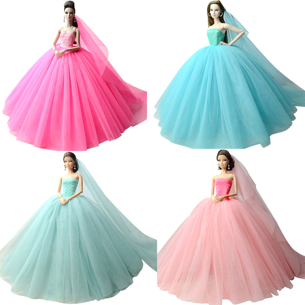 NK Doll Dress High Quality Handmade Long Tail Evening Gown Clothes Lace Wedding Dress +Veil For Barbie 1:6 Doll Best Gift  AA JJ