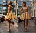 Long Sleeves Homecoming Dresses 2015 Sheer Lace Vestido De Festa Sexy Formal Party Cocktail Dress Gowns Custom Make