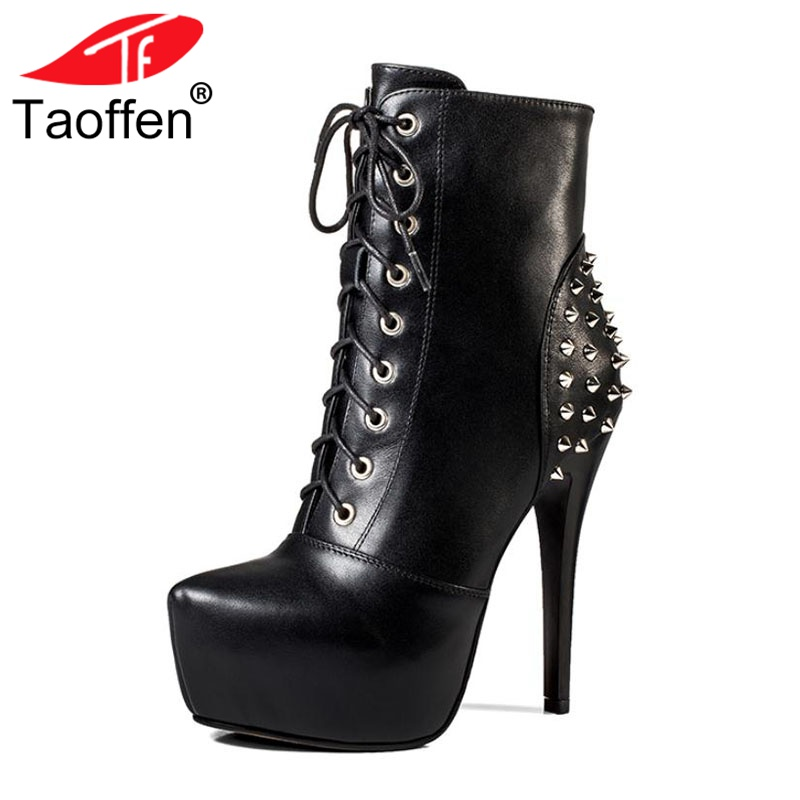 Taoffen Women Ankle Boots Genuine Leather Winter Shoes For Women Rivets Lace Up Platform High Heels Gothic Boots Size 33-40