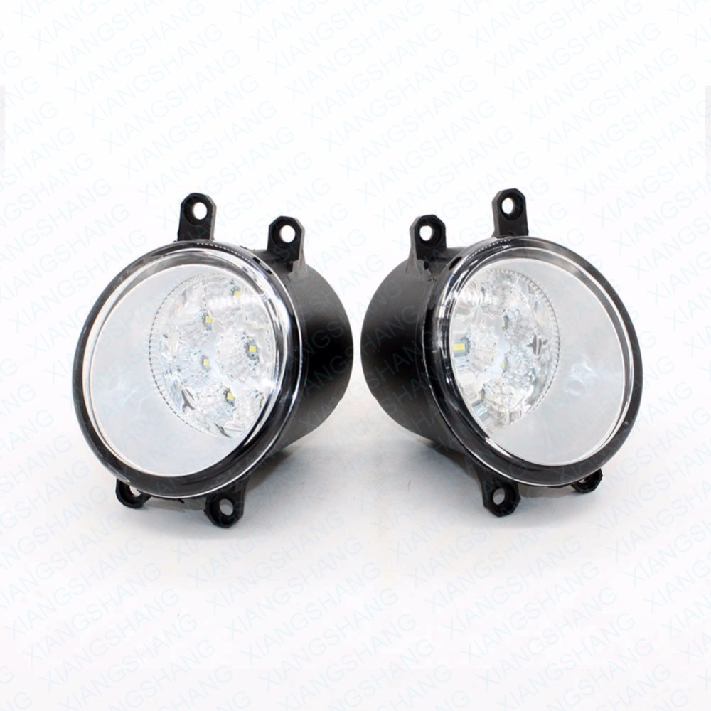 2pcs Car Styling Round Front Bumper LED Fog Lights High Brightness DRL Day Driving Bulb Fog Lamps For LEXUS RX GYL1 GGL15 AGL10 led front fog lights for renault koleos hy 2008 2013 2014 2015 car styling bumper high brightness drl driving fog lamps 1set
