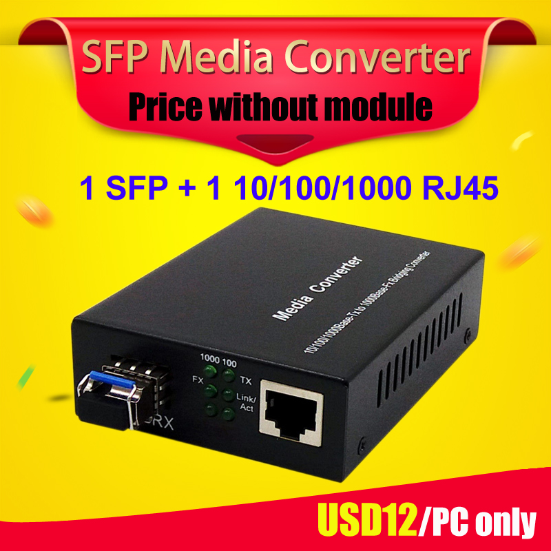 SFP ONU GPON OLT SFP Media Converter 1 Gigabit SFP fibra Puerto 1 RJ45 UTP Ethernet de fibra óptica media convertidor con ranura SFP