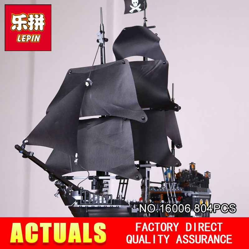 DHL Free 2017 804PCS LEPIN 16006 Pirates of the Caribbean The Black Pearl Ship Building Model Blocks Set Toys Clone 4184 kazi 1184 pcs pirates of the caribbean black pearl ship large model christmas gift building blocks toys compatible with lepin