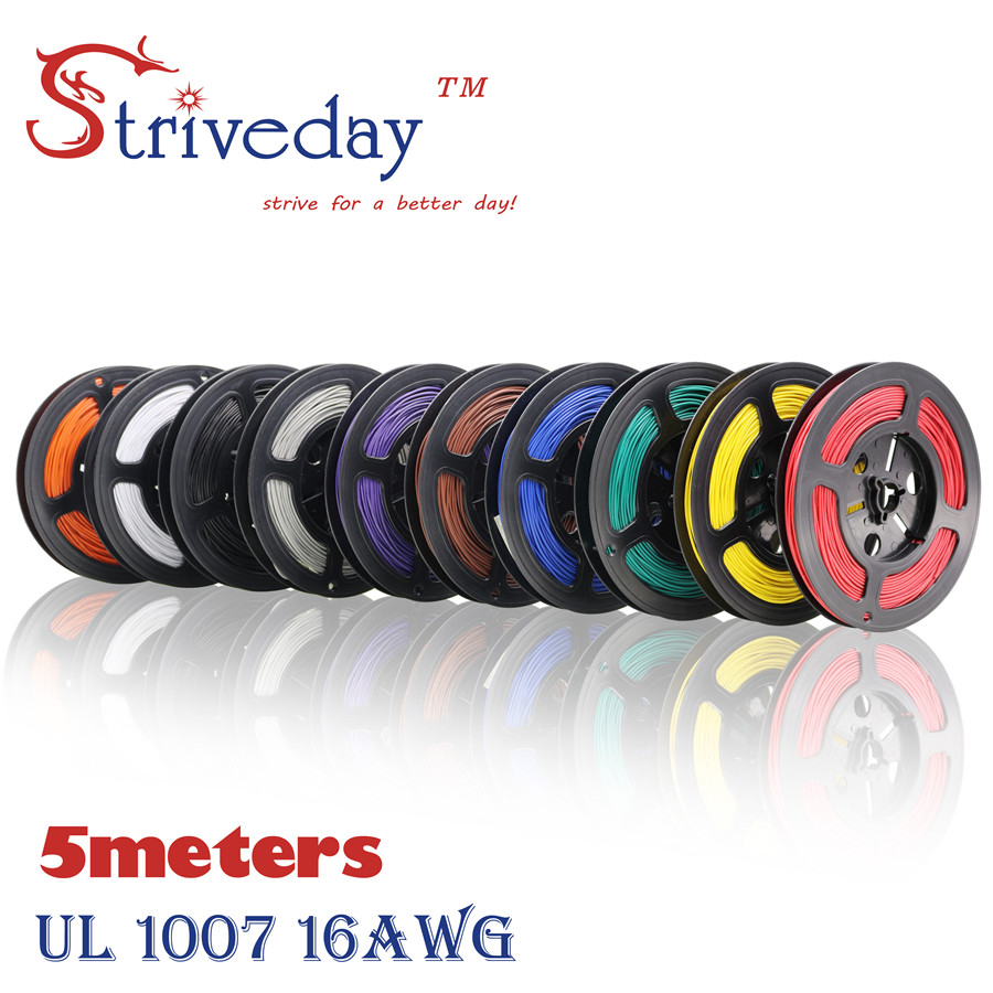 5 meters <font><b>16</b></font>.4 ft UL 1007 <font><b>16</b></font> <font><b>AWG</b></font> Cable Tinned copper Wire DIY Electronic wire 10 colors Can choose image