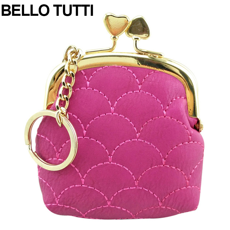 BELLO TUTTI PU Leather Mini Heart Coin Purse For Women Girls Wallet Small Change Purse Soild Color Lovely Pouch Bag W202 new brand mini cute coin purses cheap casual pu leather purse for coins children wallet girls small pouch women bags cb0033