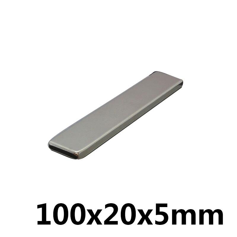 2pcs 100x20x5mm bar block rare earth neodymium permanent super strong magnet N52