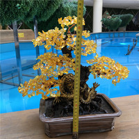 yellow crystal money tree bonsai style for wealth luck home decor and fengshui
