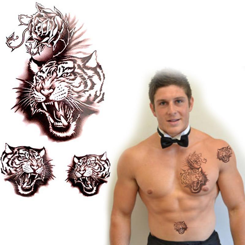 gros tanche tatouages hommes art t te de tigre faux. Black Bedroom Furniture Sets. Home Design Ideas