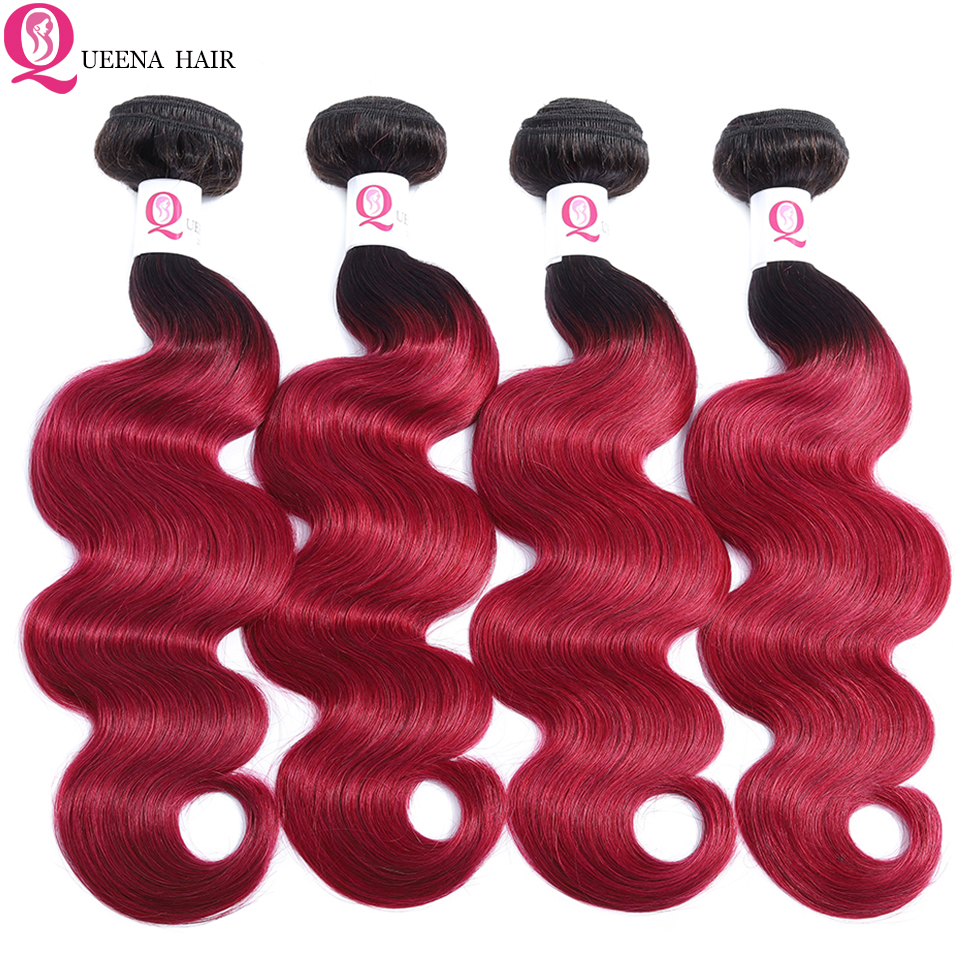 Cheap Ombre 1B Burgundy Bundles Mink Body Wave Colored Brazilian Human Hair Weave 3/4 Bundles Wet And Wavy Ombre Hair Extensions