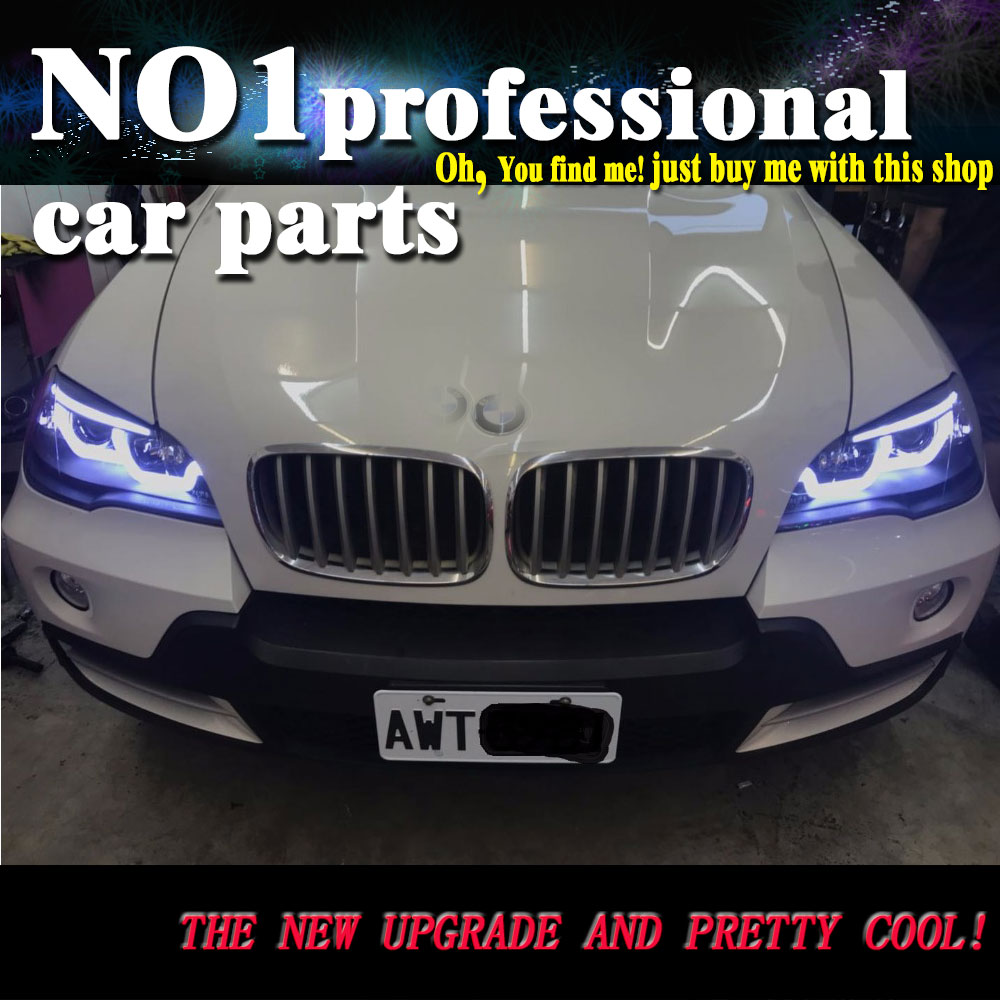 OUMIAO Car Styling for BMW X5 e70 2007 2013 Headlight for BMW X5 Head Lamp Auto LED DRL Double Beam H7 HID Xenon bi xenon lens
