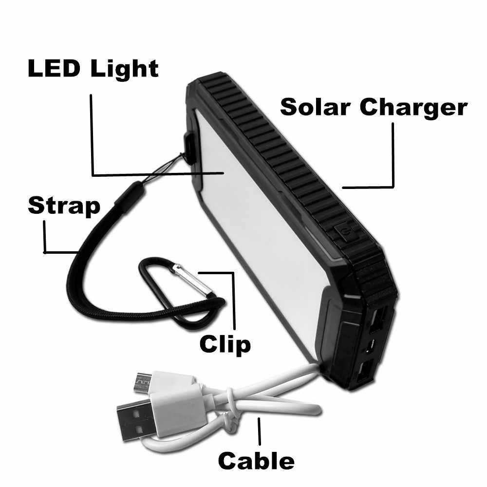Зеленый солнечный банк энергии солнечной USB зарядное устройство 10000 mAh сдвоенный выход солнечной батареи резервного копирования энергии с фонариком для Xiaomi