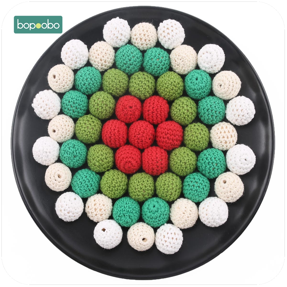 Bopoobo 10pc Baby Teether Colorful Crochet Beads Sensory Chewing Toy Wooden Beads Christmas Gifts Baby Nursing Accessories 20mm