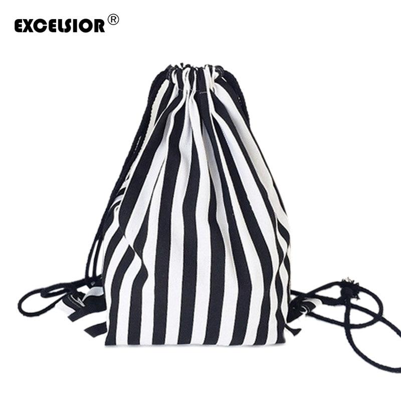 EXCELSIOR 2018 Vintage Stripe Printing Drawstring SackPack Bag Womens Canvas Backpack Bag Beach Travel Bag School Bags G0756