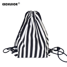 EXCELSIOR 2018 Vintage Stripe Printing Drawstring SackPack Bag Women's Canvas Backpack Bag Beach Travel Bag School Bags G0756