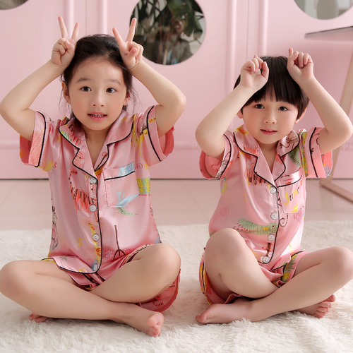 Summer Children Short Pajamas Sets 2019 Cute Silk Sleepwear Girls Short Kids Pijamas Boy Short Top and Pant Print Kids Pajamas 2