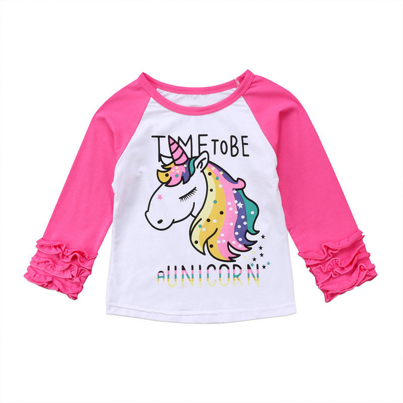 Cute Baby Girl Cotton Unicorn Horse T-shirt Fashion Long Sleeve T-shirts For Girls Fashion Kid Pullover Top Tee Children Clothes
