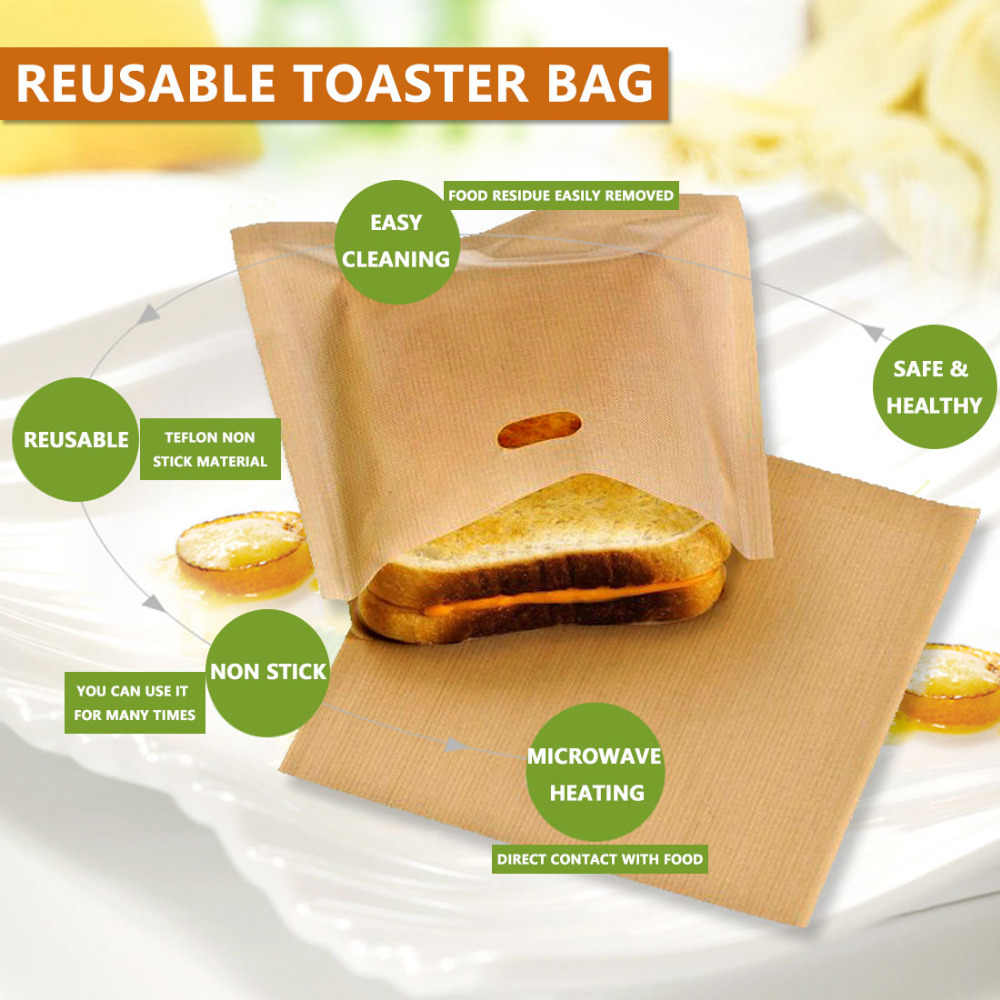 Free Shipping Reusable Toaster Bag Non Stick Bread Sandwich Bags Coated Fiberglass Toast Microwave Heating Pastry Tools