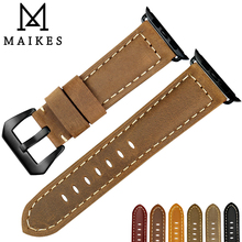 MAIKES Replacement For Apple Watch Strap 44mm 40mm 42mm 38mm Series 4/3/2/1 Leather Apple Watch Strap iWatch Watchband maikes quality leather watchband replacement for apple watch band 44mm 42mm 40mm 38mm series 4 3 2 1 iwatch apple watch strap