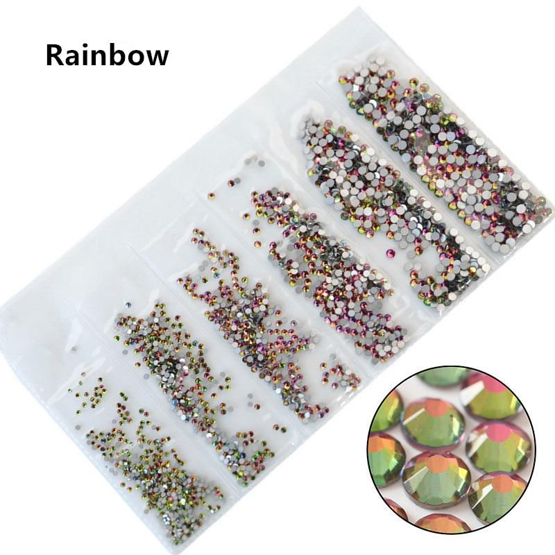 31 цвет, SS3-SS10, разные размеры, Хрустальные стеклянные стразы для дизайна ногтей, для 3D дизайна ногтей, стразы, украшения, драгоценные камни - Цвет: Rainbow