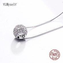 Ожерелье из серебра 925 пробы с кулоном шариком