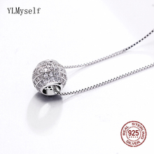 Cute Small Ball design Necklace Real 925 Sterling Silver Pendant Zirconia Fast delivery silver Statement Jewelry