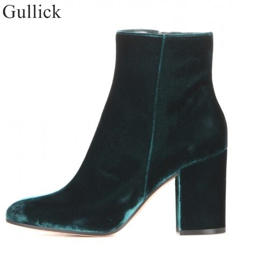 Velvet Round Toe Woman Ankle Booties 2017 Autumn Winter Chunky Heels Woman Fashion Short Boots Blue Green High Heels Dress Shoes woman shinning patent leather ankle boots fashion square toe shoes woman chunky heels dress party shoes woman zipper short boots