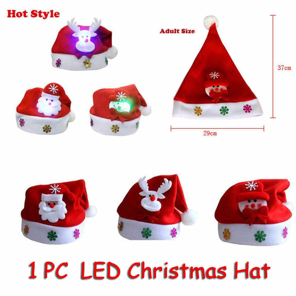Hot Kids Adult LED Christmas Hat Santa Claus Reindeer Snowman Xmas Gifts Cap bonnet de noel adulte santa claus hat#25